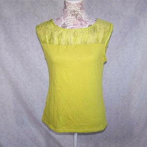 Ann Taylor Top Shirt Lime Green Sleeveless Gauze S